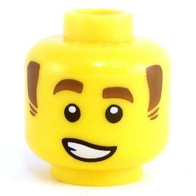 LEGO Head, Reddish Brown Sideburns, Lopsided Smile