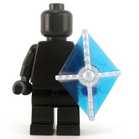 LEGO Shield, Kite, Transparent Blue with Silver Bars