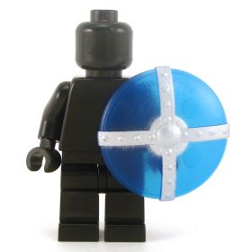 LEGO Shield, Round, Transparent Blue with Silver Bars
