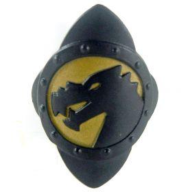 LEGO Shield, Diamond Shape, Black with Gold Dragon Design