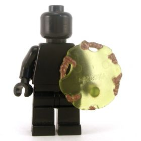 LEGO Shield, Round, Transparent Green with Gold Edges