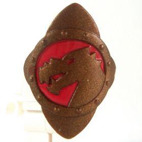 LEGO Shield, Diamond Shape, Dark Bronze with Red Dragon Design