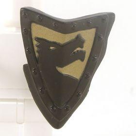 LEGO Shield, Black, Triangular with Gold Dragon Design