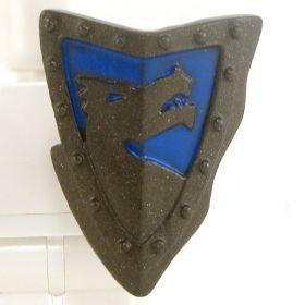 LEGO Shield, Steel, Triangular with Blue Dragon Design