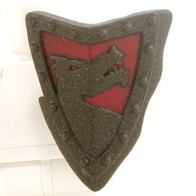 LEGO Shield, Steel, Triangular with Red Dragon Design