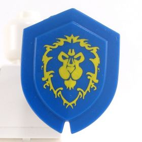 LEGO Shield, Triangular-ish, with Lion on Blue Background