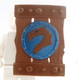 LEGO Shield, Large Rectangular, Brown with Olive Blue Dragon Design