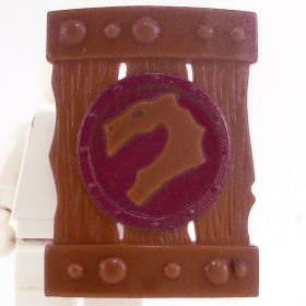 LEGO Shield, Large Rectangular, Brown with Dark Red Dragon Design