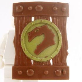 LEGO Shield, Large Rectangular, Brown with Olive Green Dragon Design