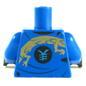 LEGO Torso, Blue Layered Shirt with Gold Dragon Design