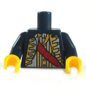 LEGO Torso, Dark Blue Colonial-style Jacket with Red Sash