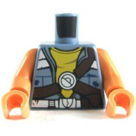 LEGO Torso, Sand Blue Vest over Yellow Shirt, Bare Arms