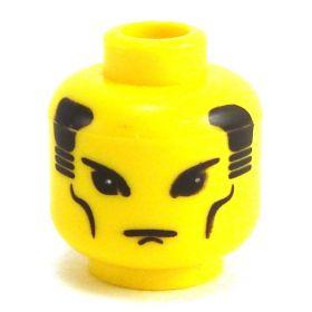 LEGO Head, Angled Eyes, Black Hair, Cheek Lines