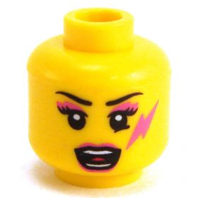 LEGO Head, Pink Mascara, Lightning Bolt