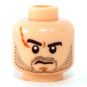LEGO Head, Beard Stubble, Scar
