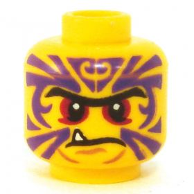 LEGO Head, Purple Tattoos, Red Eyes