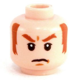 LEGO Head, Flesh, Dark Orange Eyebrows and Sideburns