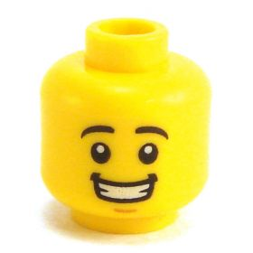 LEGO Head, Black Rounded Eyebrows, Big Smile