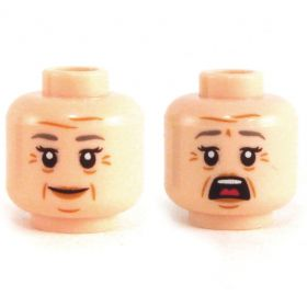 LEGO Head, Flesh, Female, Gray Eyebrows and Wrinkles