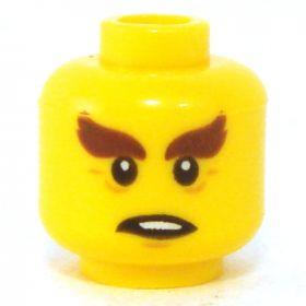 LEGO Head, Very Heavy Brown Eyebrows