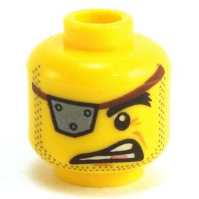 LEGO Head, Eye Patch, Gold Tooth