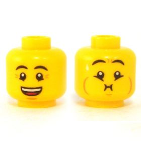 LEGO Head, Black Eyebrows, Smiling/Sick
