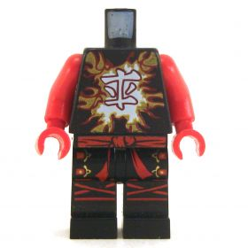 LEGO Black Outfit with Red Arms,  Energy Design, Tied Belt and Buckles