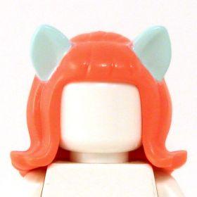 LEGO Hair, Orange with Light Aqua Ears