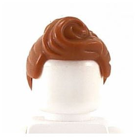 LEGO Hair, Female, Ponytail and Curled Bangs, Reddish Brown
