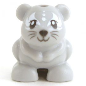 LEGO Hamster, Gray with White Fur Pattern