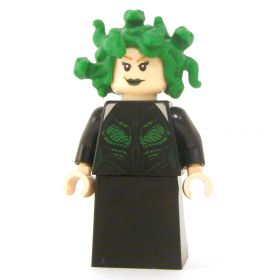 LEGO Medusa, Black Dress, Green Snakes, Flesh Head