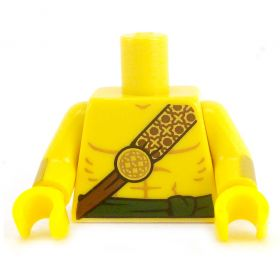 LEGO Torso, Bare Chest with Shoulder Strap, Green Waist Sash