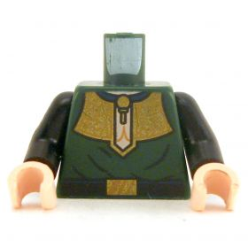 LEGO Torso, Dark Green with Fancy Gold Collar and Black Belt.