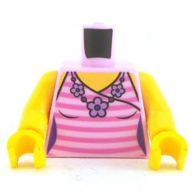 LEGO Torso, Female, Pink Stripes with Flower Pattern