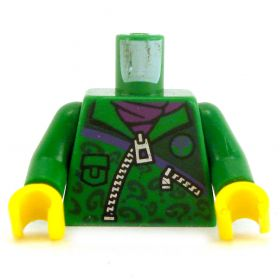 LEGO Torso, Green Jacket with Question Marks and Dark Purple Scarf