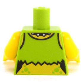 LEGO Torso, Female, Torn Lime Shirt with Toxic Symbol, Studded Collar