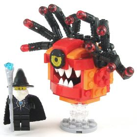 LEGO Beholder, Red and Orange, Eyestalks, Angry Eye