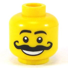 LEGO Head, Curly Moustache, Smile with Teeth