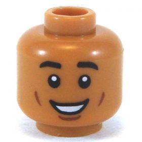 LEGO Head, Medium Dark Flesh, Smiling