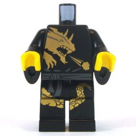 LEGO Black Keikogi with Flared Sleeves, Gold Dragon