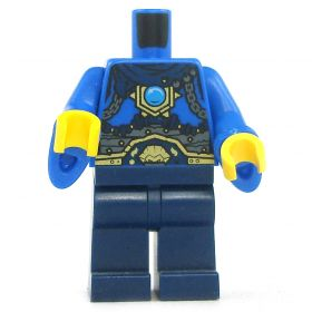 LEGO Blue Shirt with Flared Sleeves, Gold Amulet, Chain, Gray Wrap, Gold Belt, and Dark Blue Pants