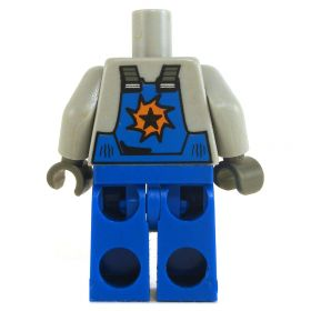 LEGO Blue Overalls with Light Bliush Gray Shirt, Star on Front and Back