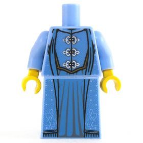 LEGO Blue Dress with Silver Clasps, Fancy Patterning