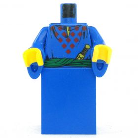 LEGO Robe or Dress, Blue with Dark Red Diamonds, Flared Sleeves