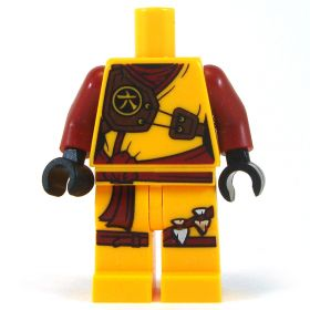 LEGO Bright Light Orange Female Outfit with Dark Red Arms, Shoulder Armor