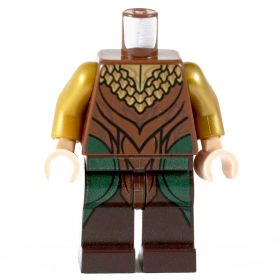 LEGO Green and Brown Leather with Gold Scale Collar Pattern