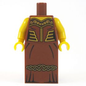 LEGO Dress, Brown with Gold Designs, Celtic Pattern on Skirt