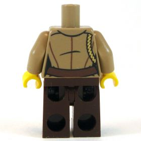 LEGO Dark Brown Pants with White Shirt and Tan Jacket, Badge and Braid