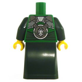 LEGO Robe, Green with Dark Green Arms, Armored with Dragon Symbol