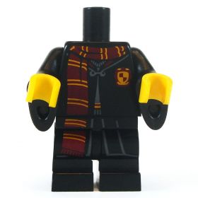 LEGO Black Outfit with Flared Sleeves, Red and Gold Scarf, Short Bendable Legs